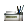 Pen and card Holder with alarm clock and calendar
