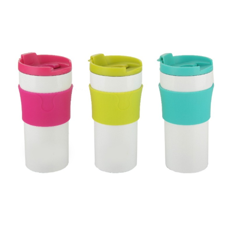 360ml White Painting Stainless Steel Coffee Tumbler With Color S