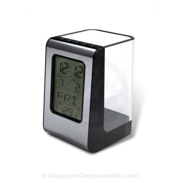 Pen Holder With Clock Thermometer and Calendar