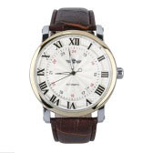 Unisex Automatic Self-winding Movt Wrist Watch Leather Band