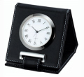 Designer Metal Travel Alarm Clock with Leather Casing