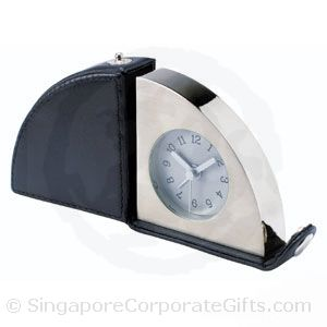 Designer Leather Travel Alarm Clock