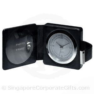Designer Leather Travel Alarm Clock with Photoframe