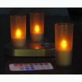 Rechargable 3 LED Candle (Selectable-Colour) with remote control