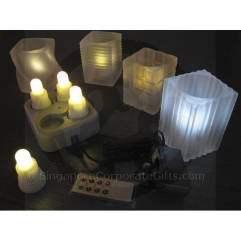 Rechargable 4 Super Bright LED Candle (Single Colour)-remote