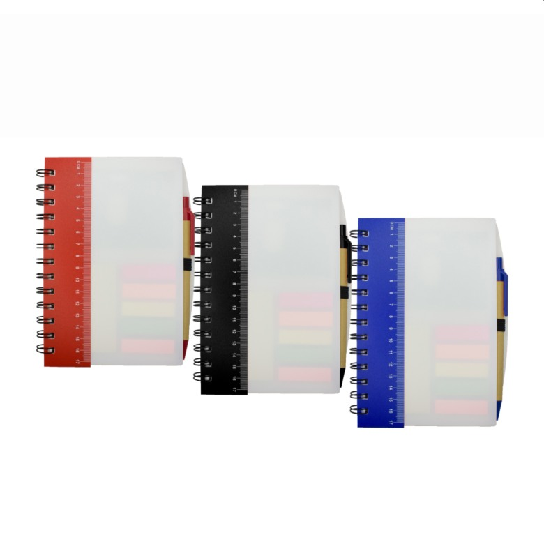 Ruler Notebook with Sticky Notes & Pen [White Cover]