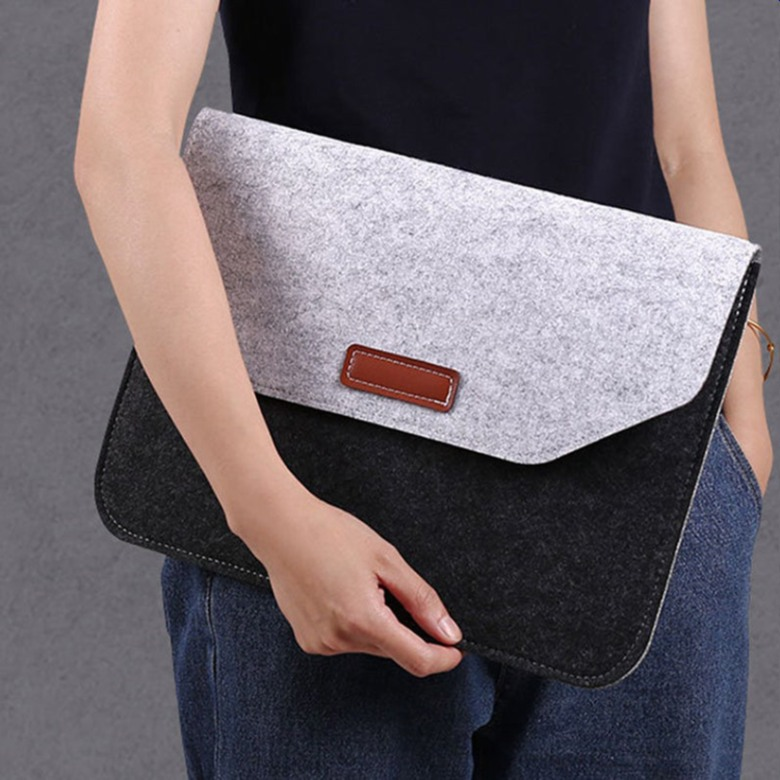 Dual Colour Felt with PU Leather Document Bag