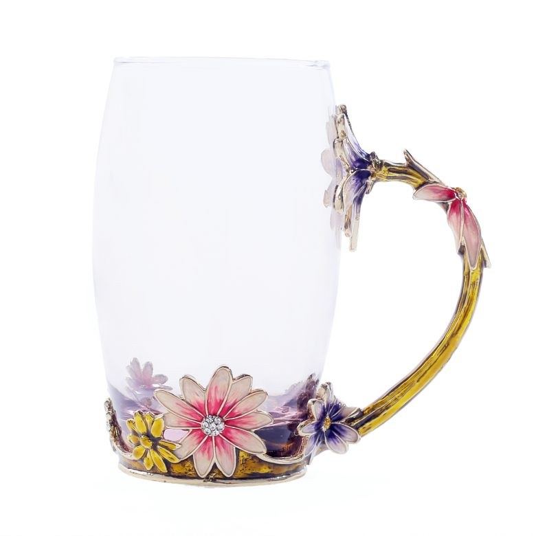Exclusive Daisy Motif Enamel Cup  (350ml)