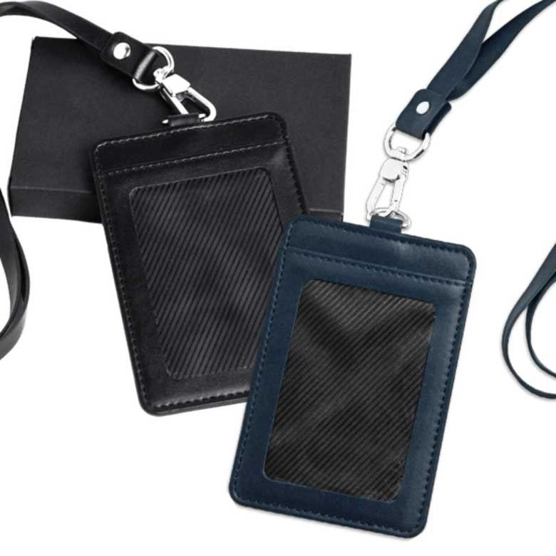 Leather ID Pass Holder with Lanyard