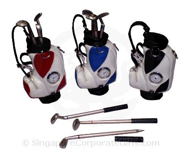 Golf bag with clock & balllpen