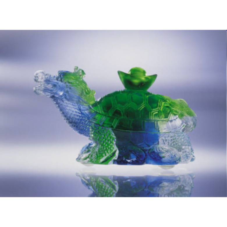 Liuli Paper Weight - Auspicious Dragon Turtle (寿富&
