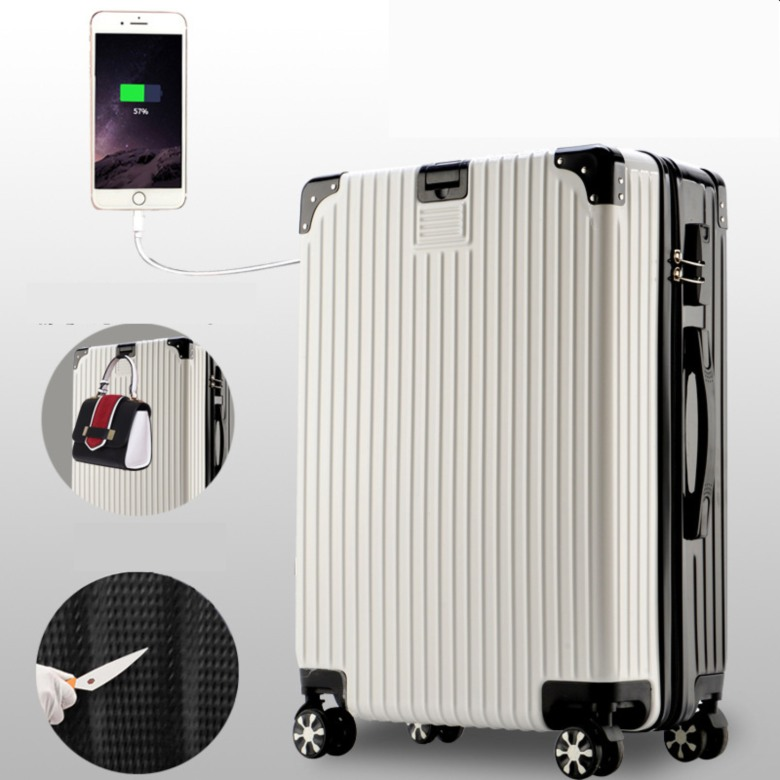 Lightweight 8 wheel  Luggage with USB Charging Port
