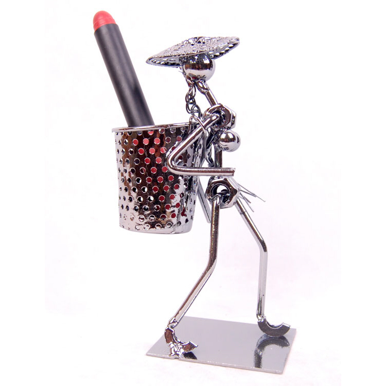 Steel Art Pen Holder (Man with Basket)