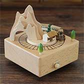 Village and Car Wooden Music Box