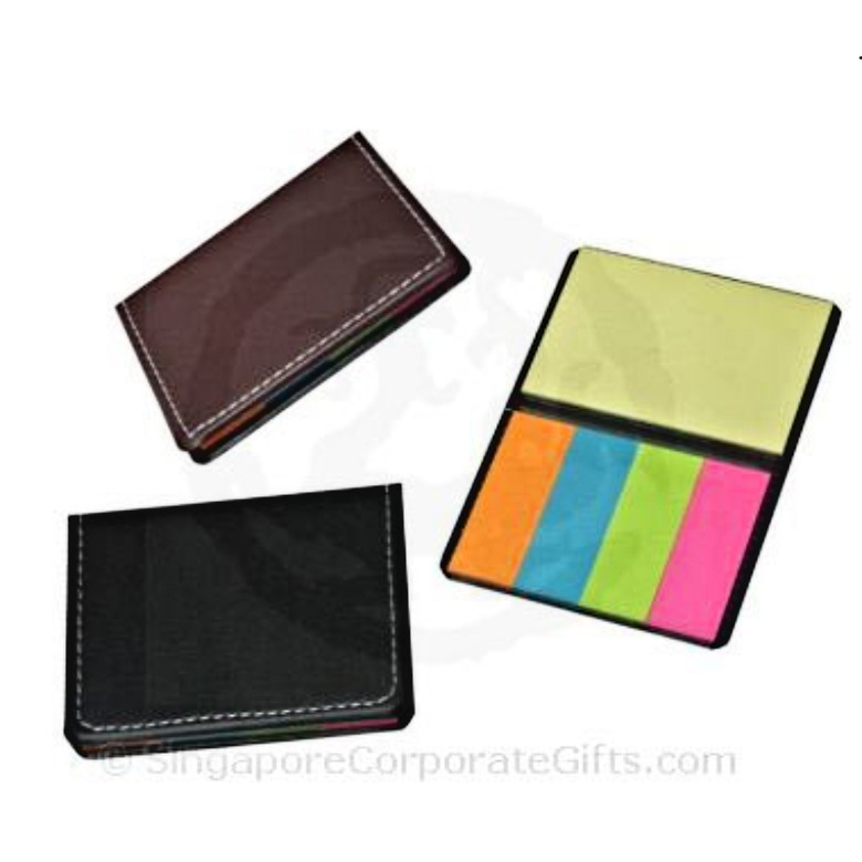 Sticky Memo Pad with Leather Cover