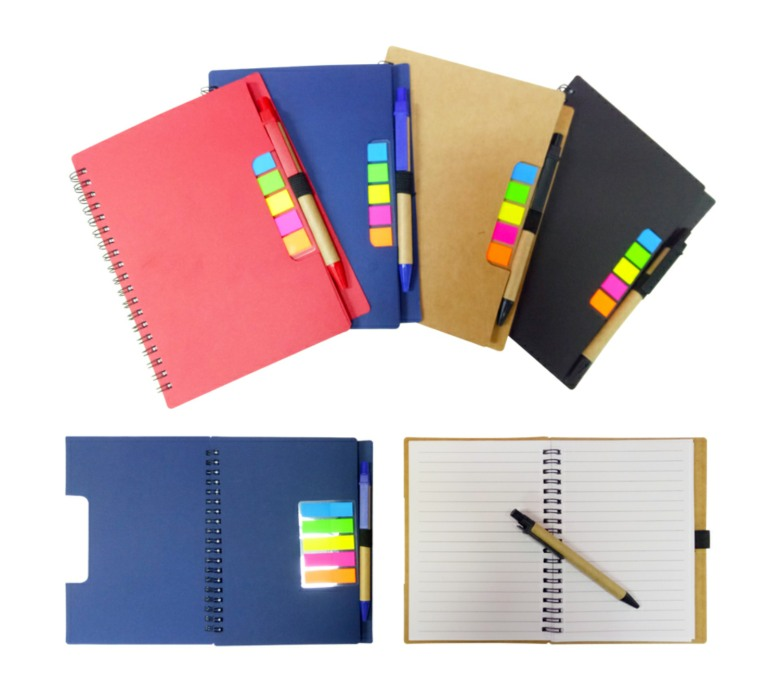 Eco-Friendly A5 Notebook with sticky tabs and pen