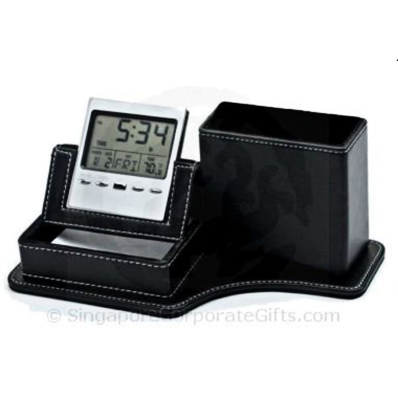 PU leather Pen and Memo Holder with Clock and Calendar