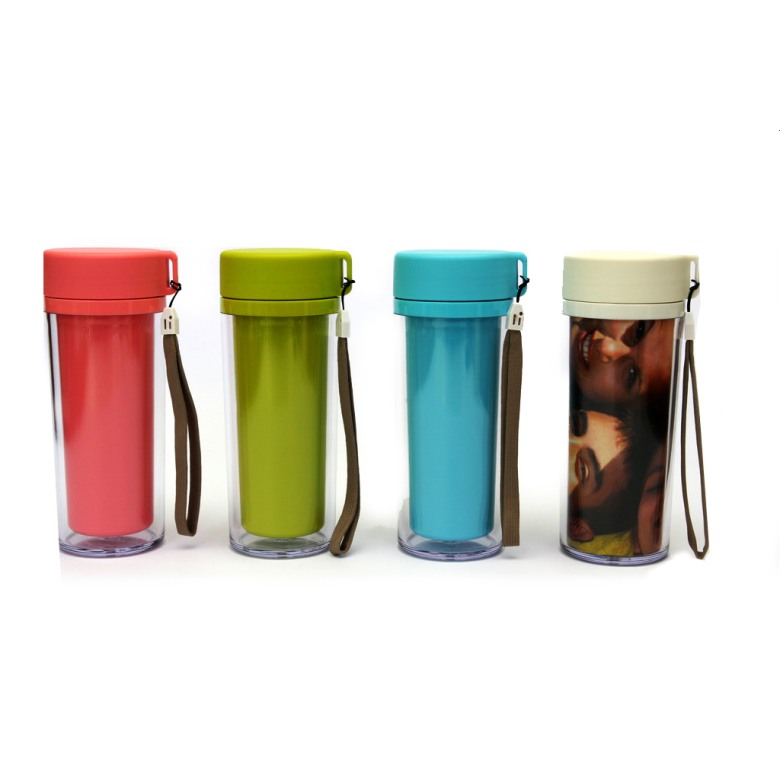 Double wall Paper Insert tumblers with screw-on lid