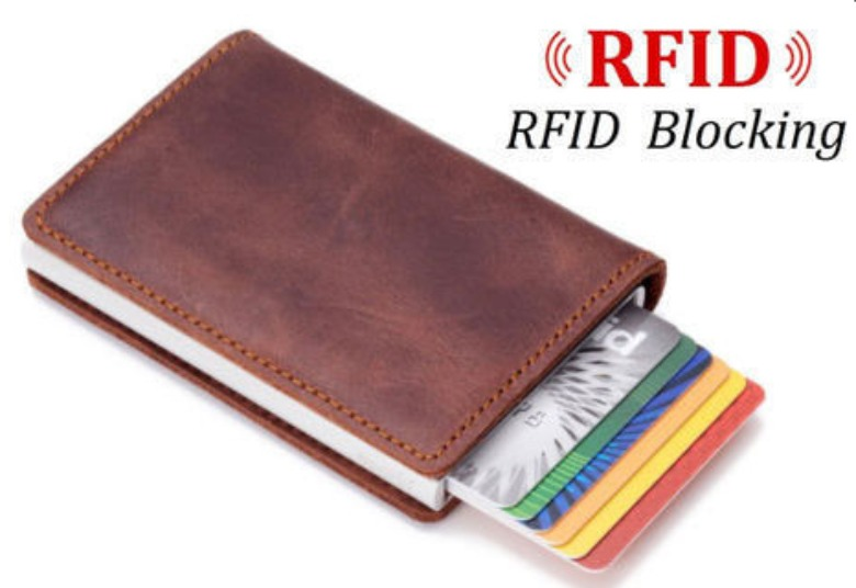 RFID Blocking Leather Credit Card Holder