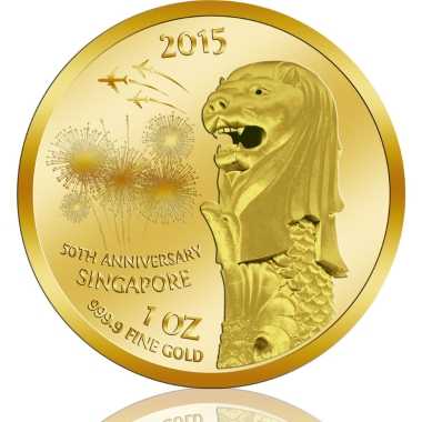 SG50 Singapore Merlion 999.9 Gold Coin (1 Oz)