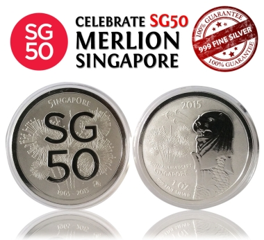 SG50 Singapore Merlion 999.9 Silver Coin (1 Oz)
