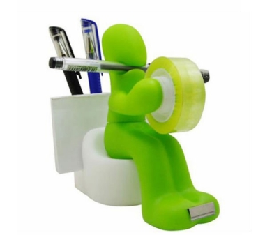 Sitting Man Tape Dispenser cum Pen and Paper Clip Holder