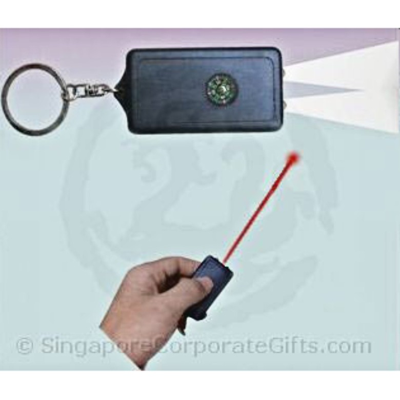 Solar Laser Pointer with LED, Compass and Keychain