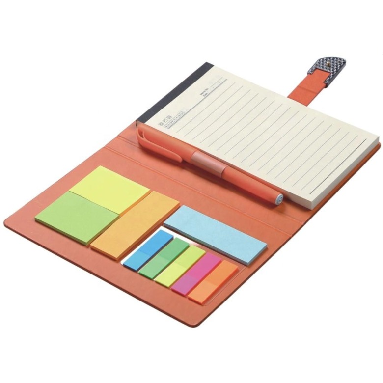 Leather Cover Sticky memo pad with notebook and pen