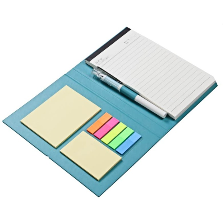 Sticky memo pad with notebook with pen