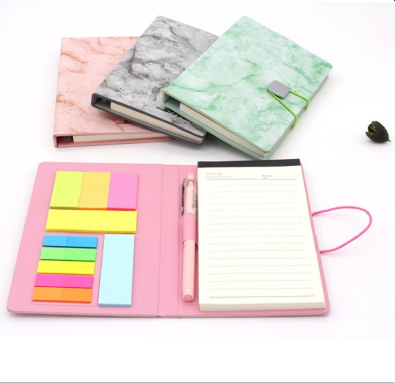 Hard Cover Sticky memo pad with notebook and pen