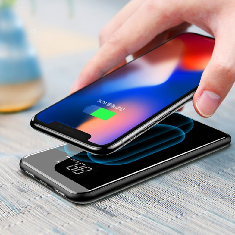 Mirror Finish Wireless Charging Power Bank with Digital Display