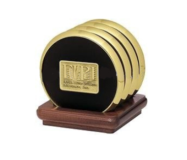 Exclusive Brass Coaster with Leather Lining 2
