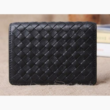 Genuine Leather Namecard Holder (Black) Weave