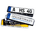 Made In Germany–Silver Gloss Raised Script License Plate Holde
